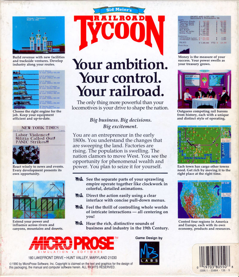 Sid Meier's Railroad Tycoon Amiga Back Cover