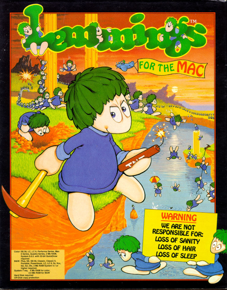 Lemmings Macintosh Front Cover Floppy disk release.