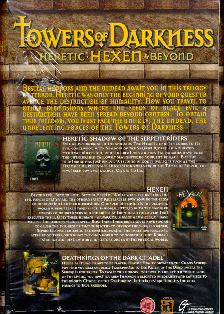 Towers of Darkness: Heretic, Hexen & Beyond DOS Back Cover
