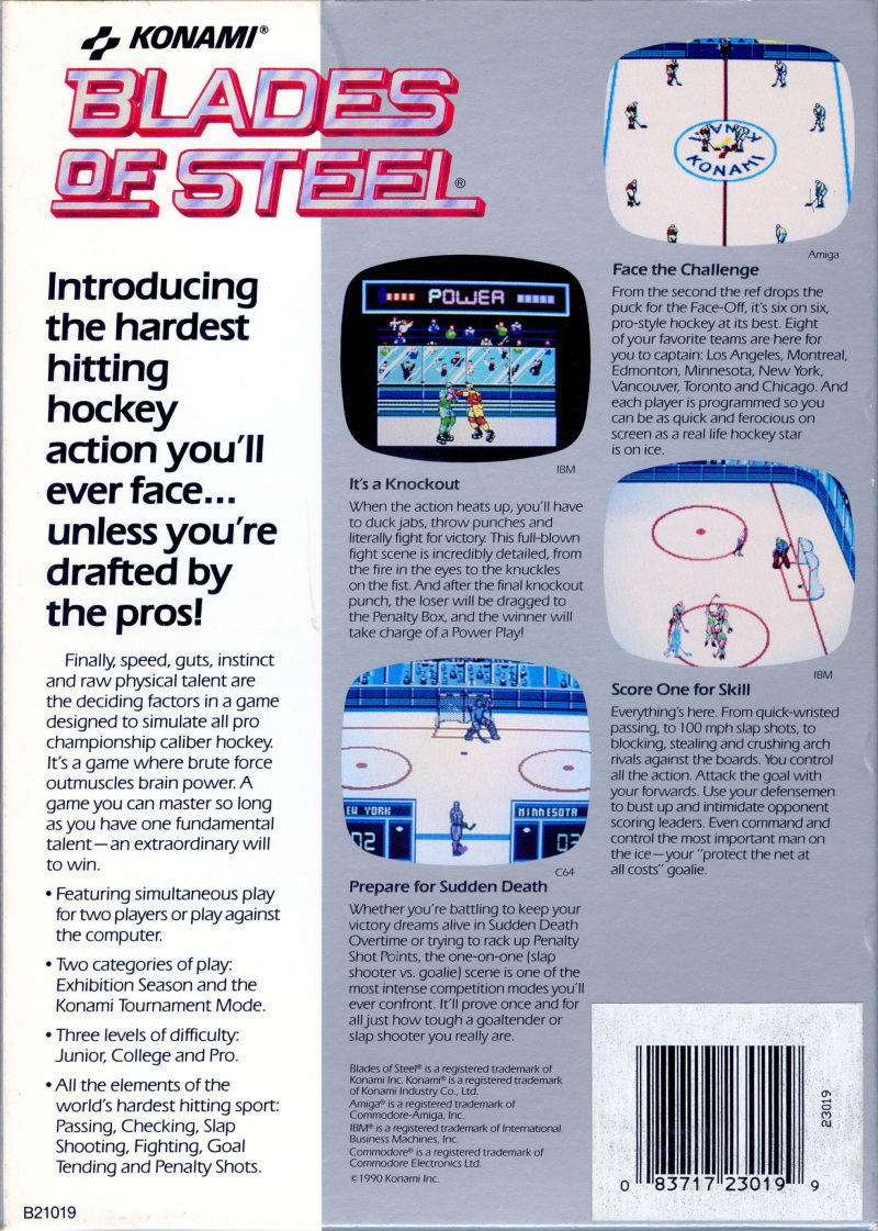Blades of Steel Amiga Back Cover