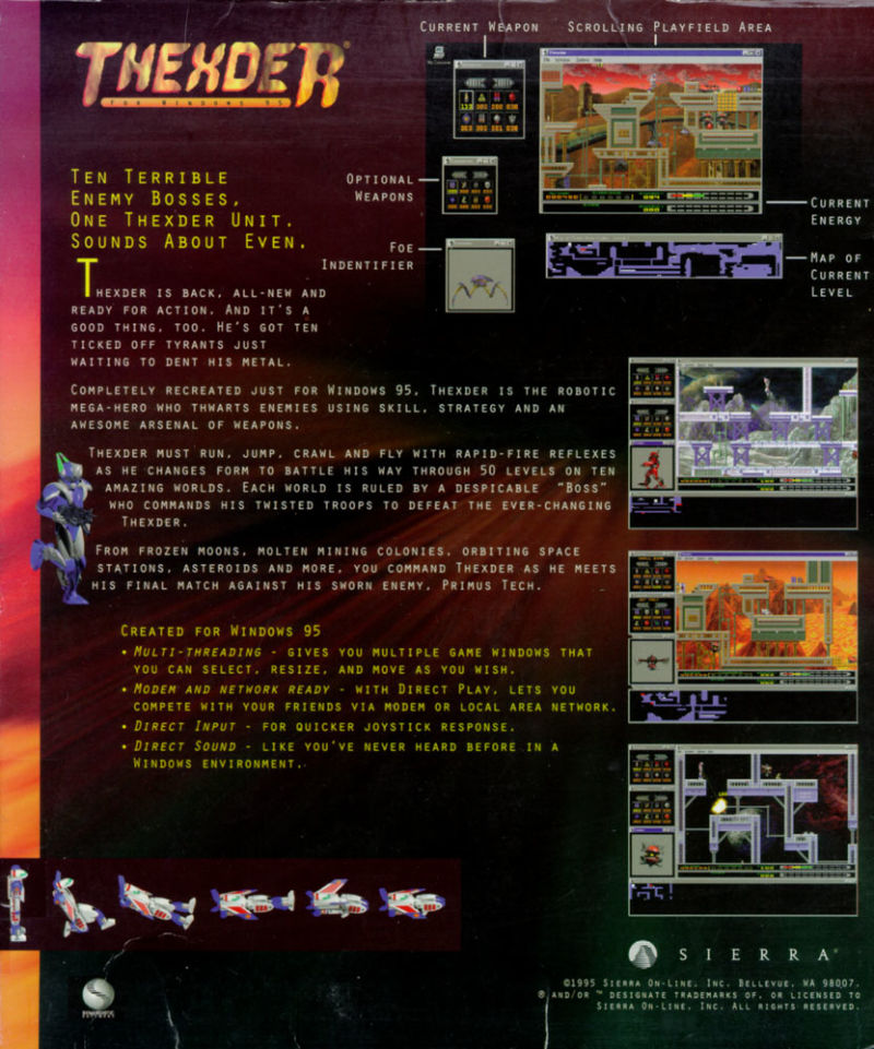Thexder Windows Back Cover