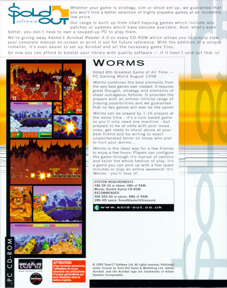Worms DOS Back Cover