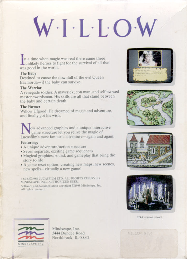 Willow Atari ST Back Cover
