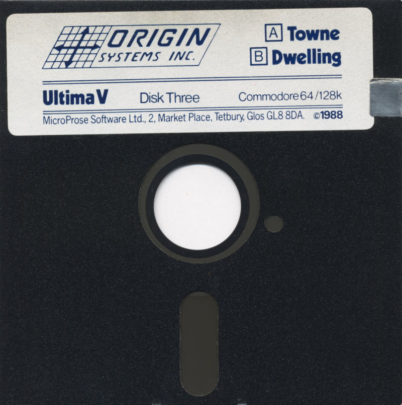 Ultima V: Warriors of Destiny Commodore 64 Media Disk 3 (Towne/Dwelling)