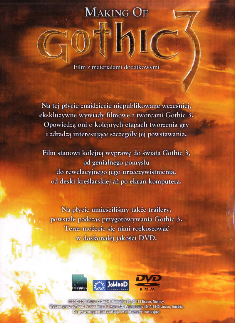 Gothic 3 Windows Other Keep Case - Back Cover (Making of Gothic 3 DVD)