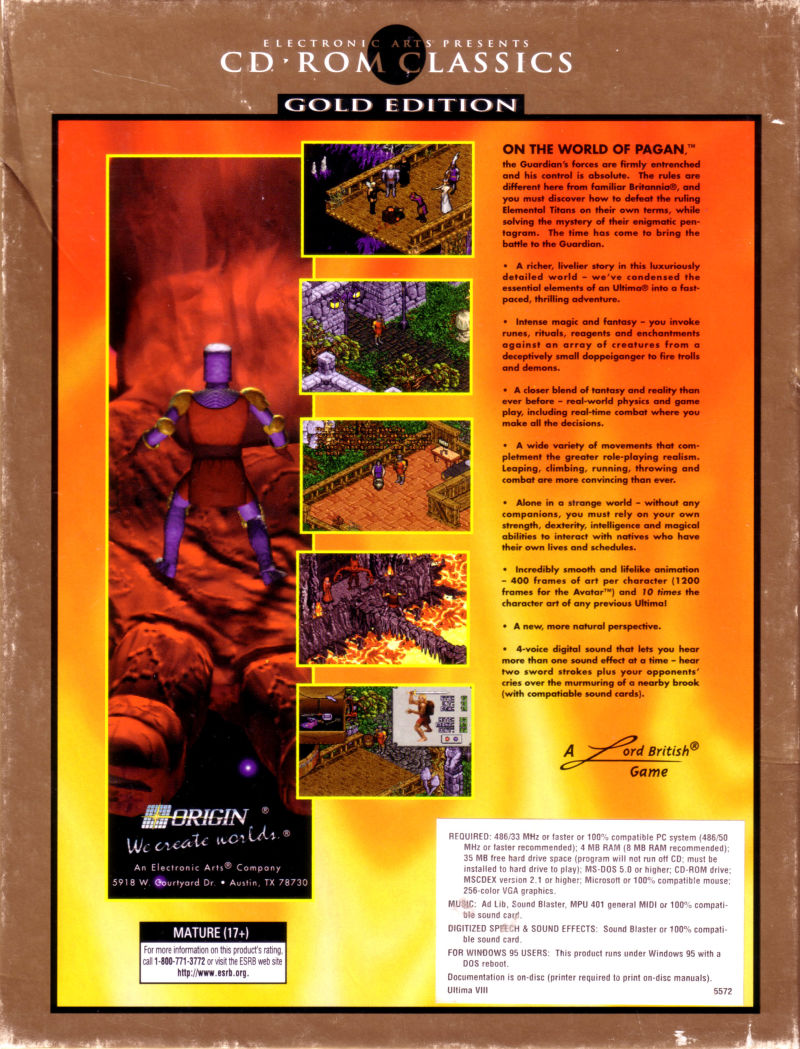 Pagan: Ultima VIII: Gold Edition DOS Back Cover
