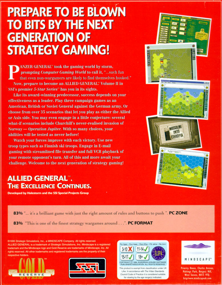 Allied General Windows Back Cover