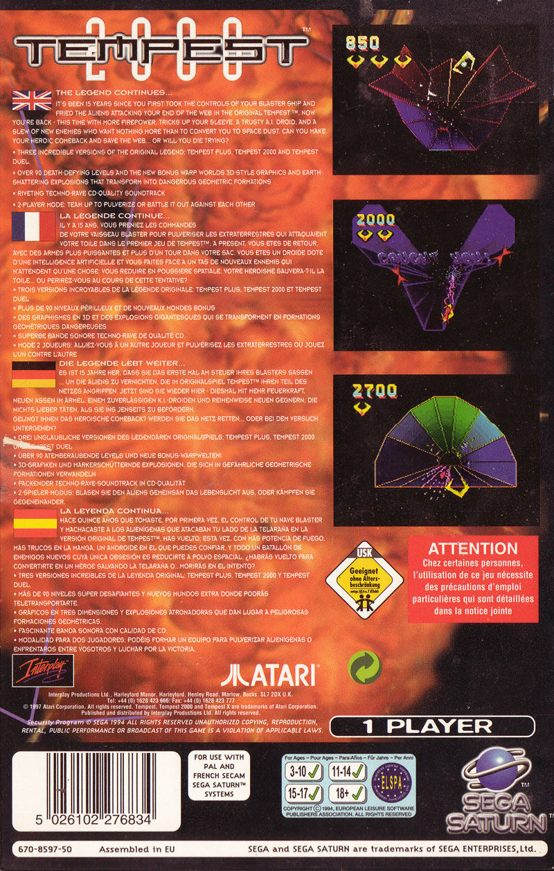 Tempest 2000 SEGA Saturn Back Cover