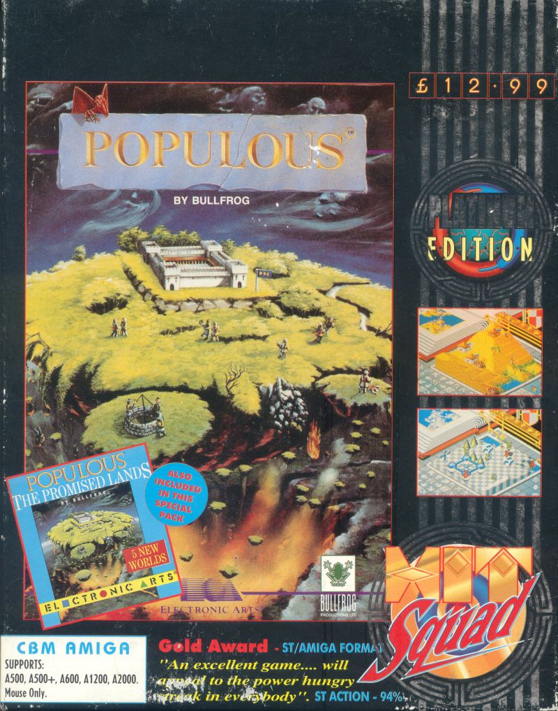 Populous / Populous: The Promised Lands Amiga Front Cover