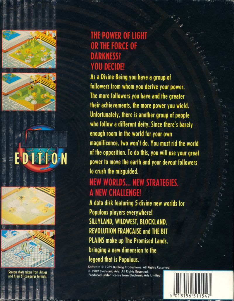 Populous / Populous: The Promised Lands Amiga Back Cover