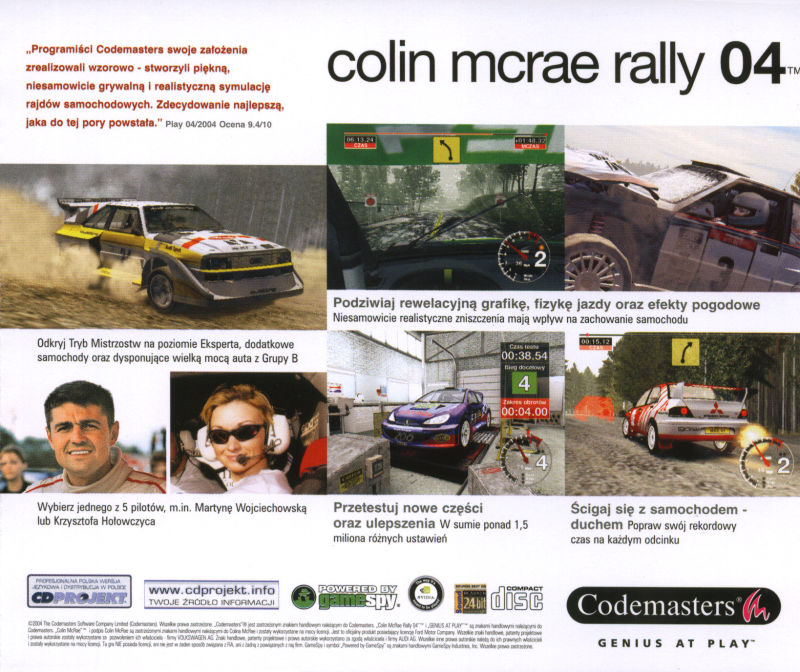 Colin McRae Rally 04 Windows Other Jewel Case - Back