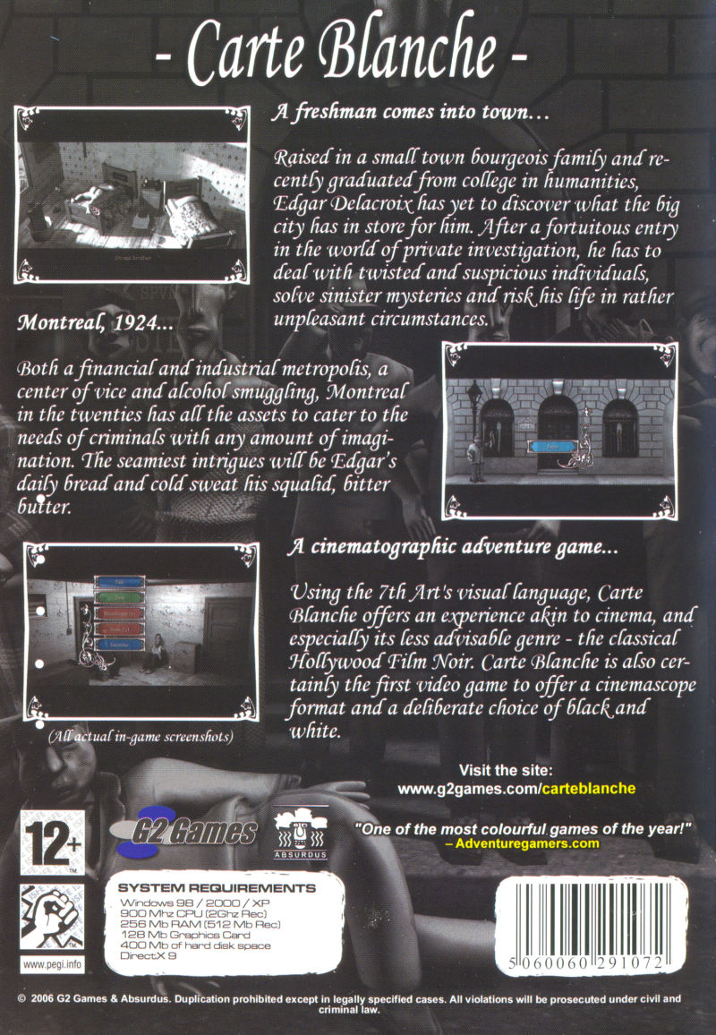 Carte Blanche: First Episode - For a Fistful of Teeth Windows Back Cover