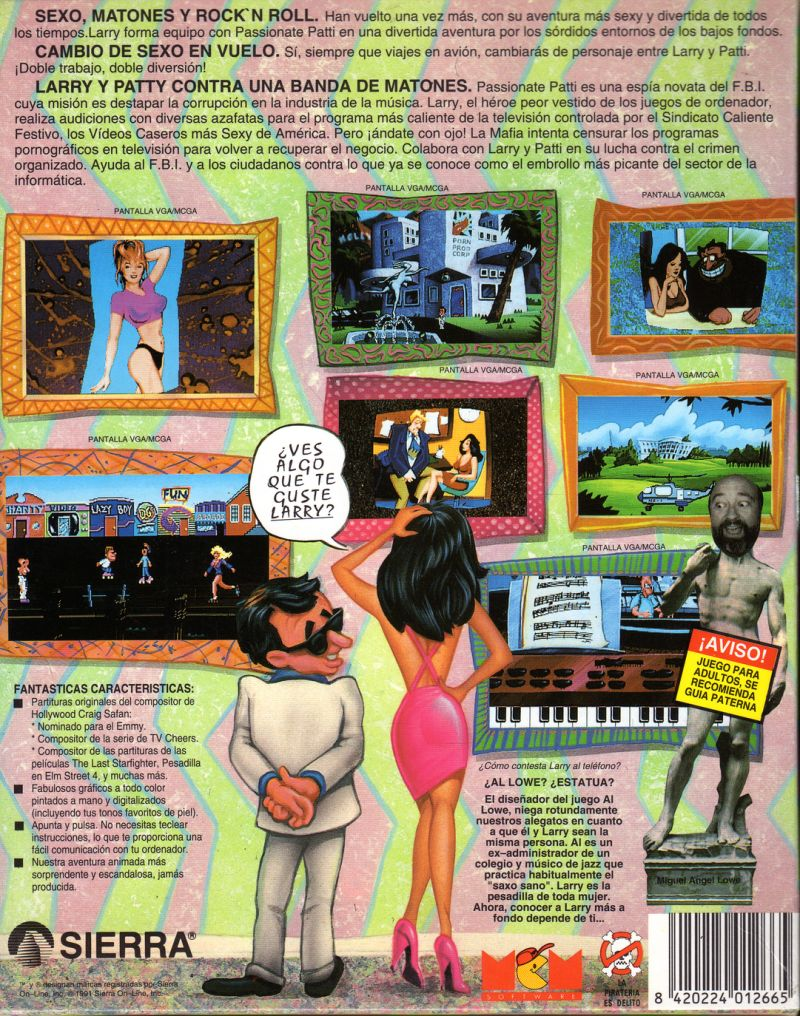 Leisure Suit Larry 5: Passionate Patti Does a Little Undercover Work DOS Back Cover