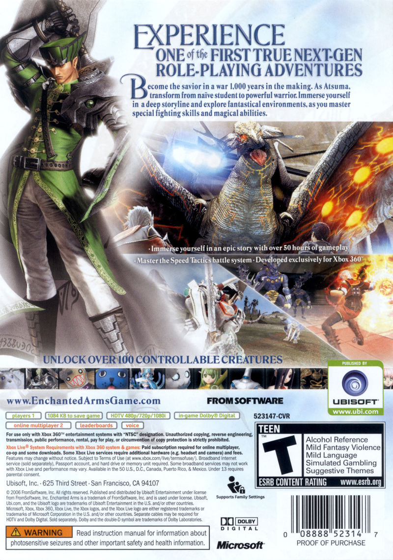 Enchanted Arms Xbox 360 Other Keep Case - Back