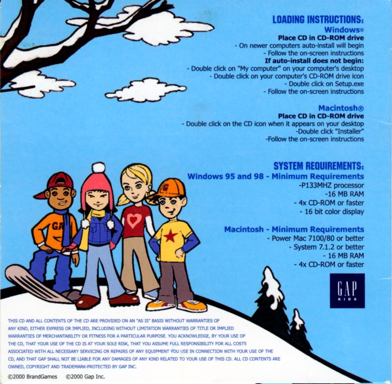 Snow Day: The GapKids Quest Macintosh Back Cover