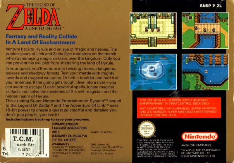 The Legend of Zelda: A Link to the Past SNES Back Cover