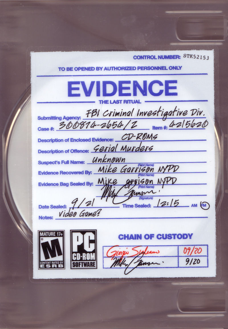 Evidence: The Last Ritual Windows Front Cover