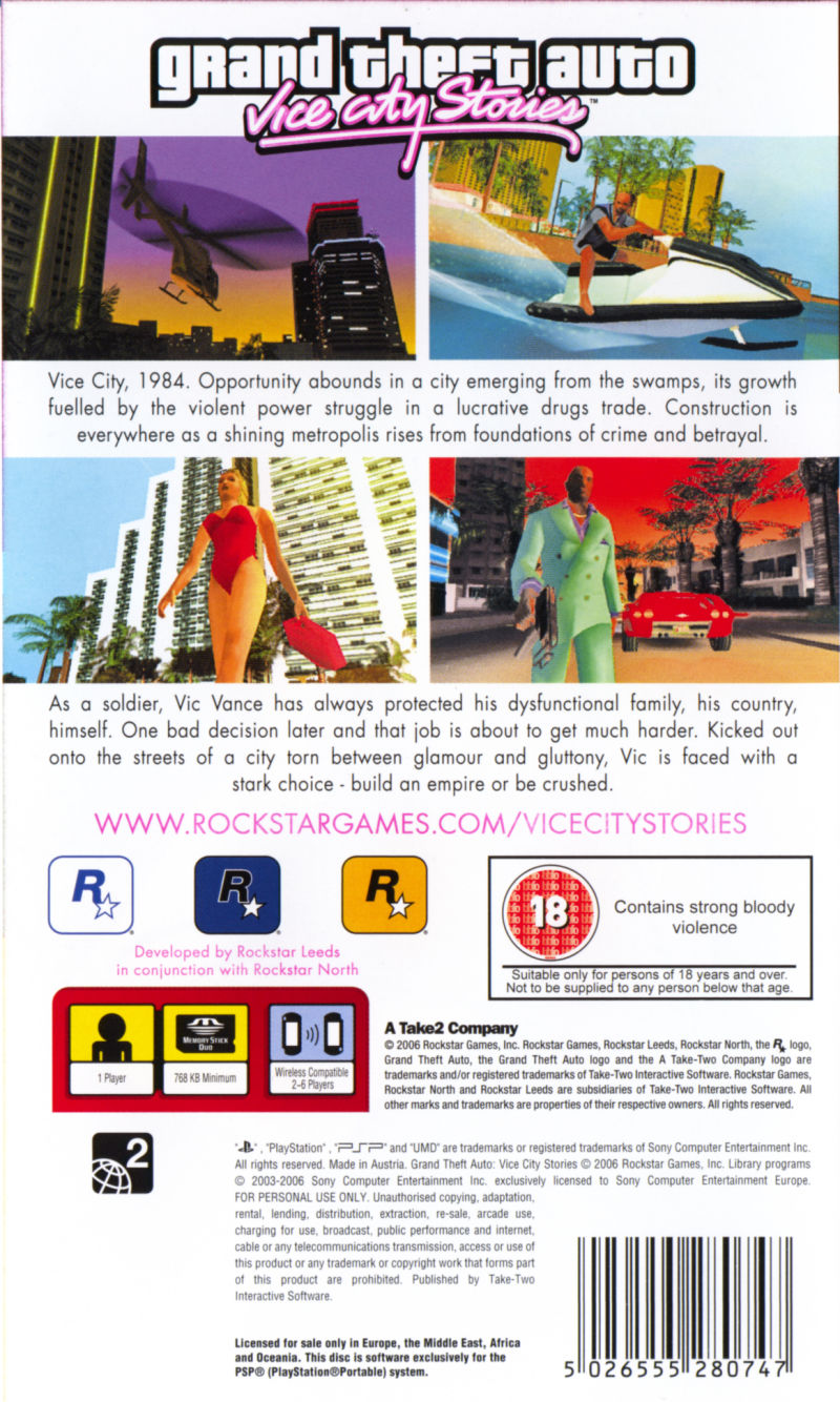 Grand Theft Auto: Vice City Stories PSP Back Cover