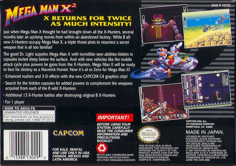 Mega Man X2 SNES Back Cover