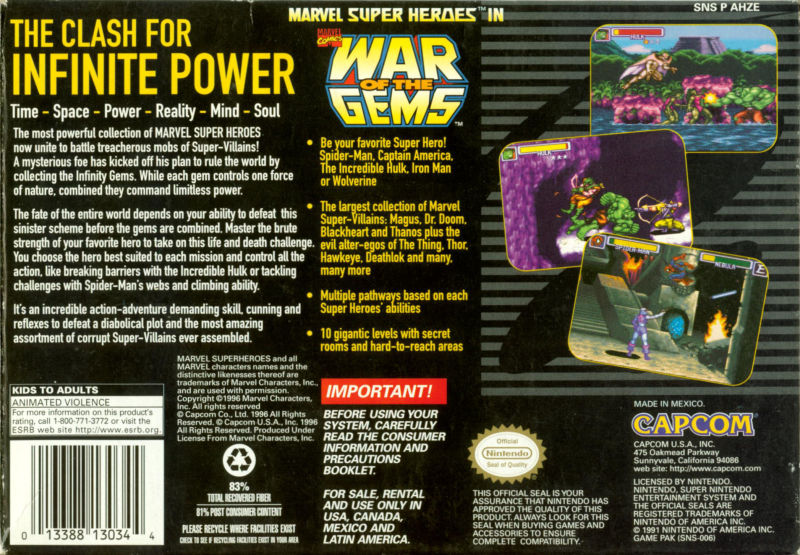 Marvel Super Heroes in War of the Gems SNES Back Cover