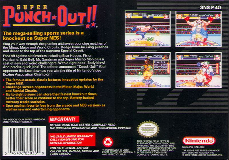 Super Punch-Out!! SNES Back Cover