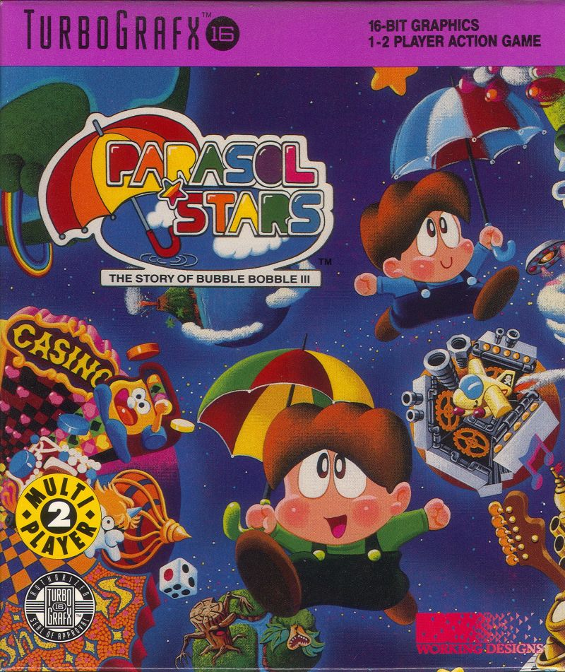 Parasol Stars: The Story of Bubble Bobble III TurboGrafx-16 Front Cover