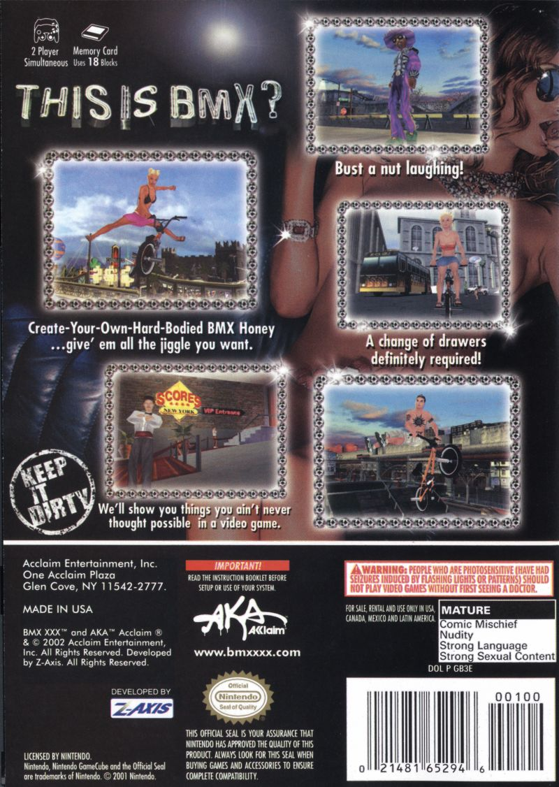 BMX XXX GameCube Back Cover