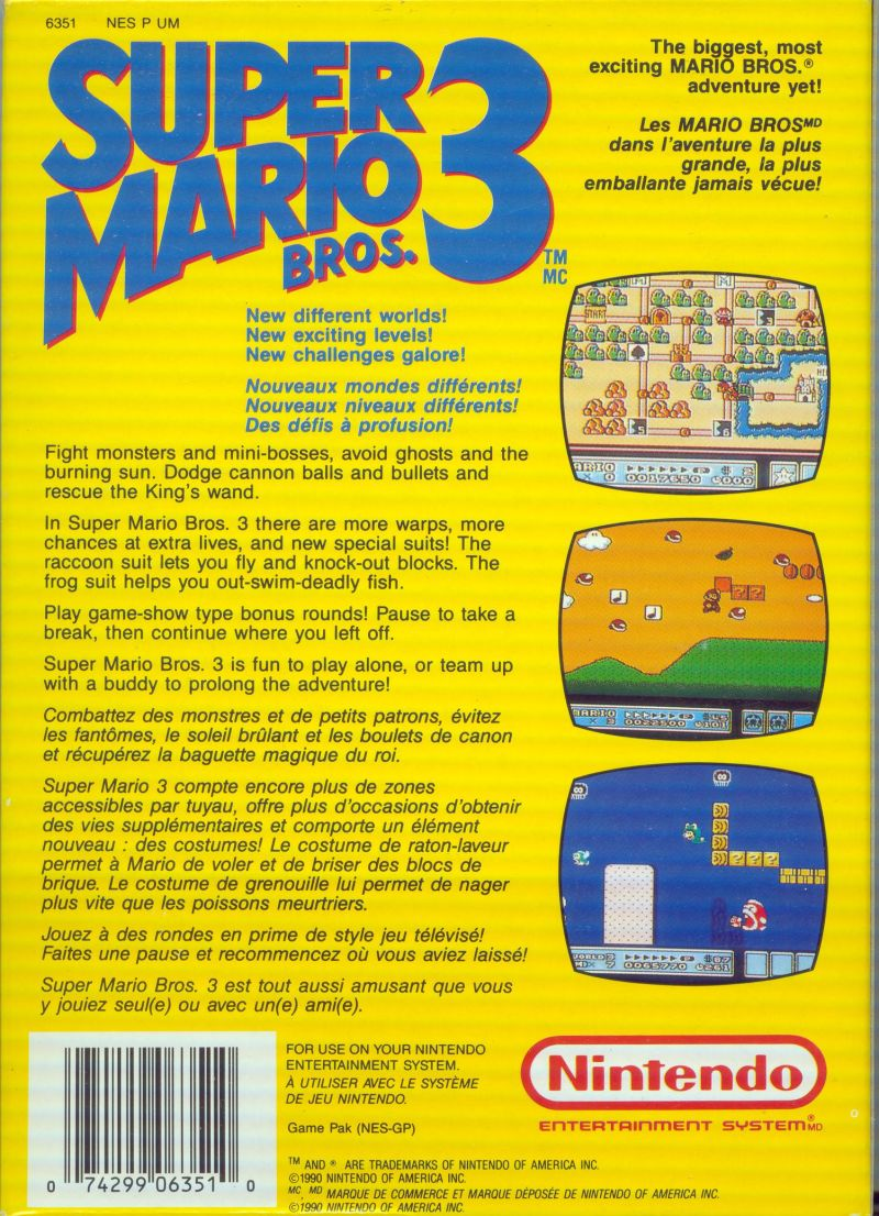 Super Mario Bros. 3 NES Back Cover