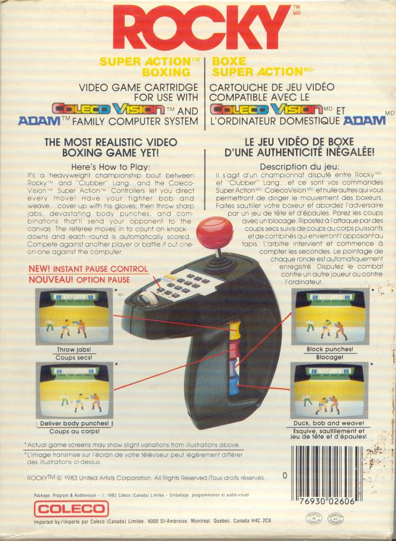 Rocky Super Action Boxing ColecoVision Back Cover