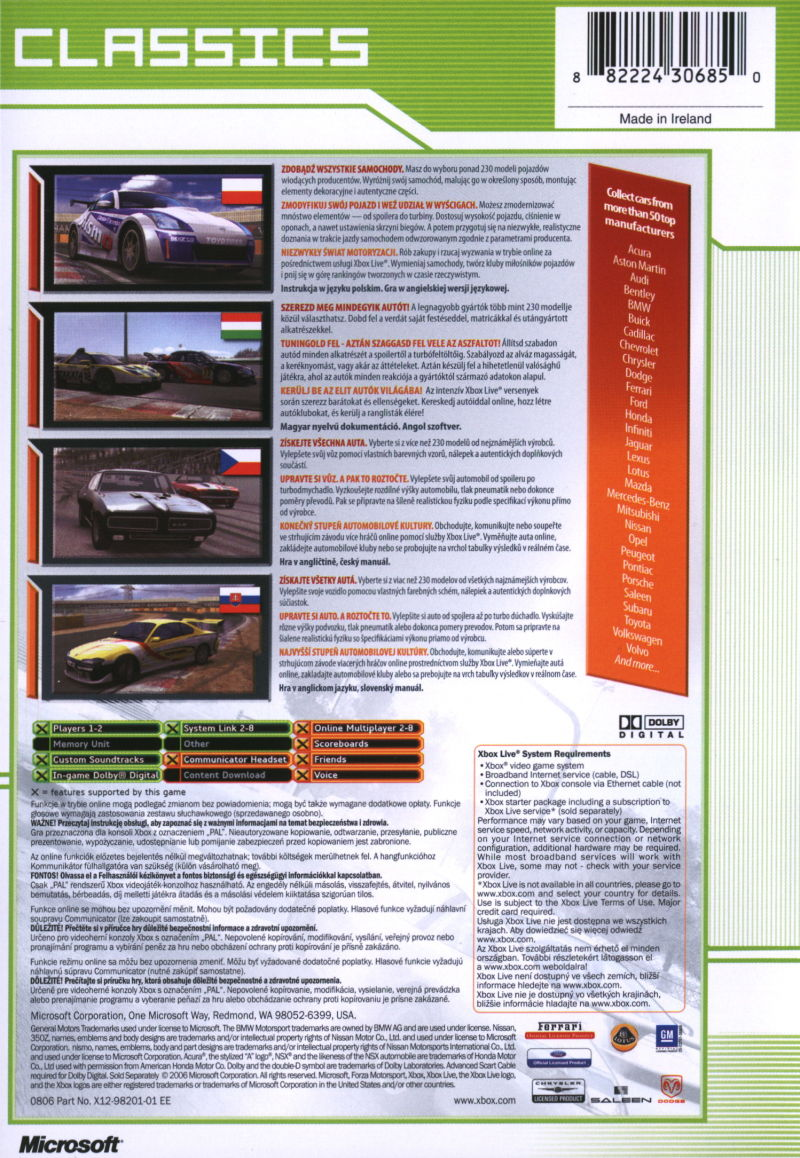 Forza Motorsport Xbox Back Cover