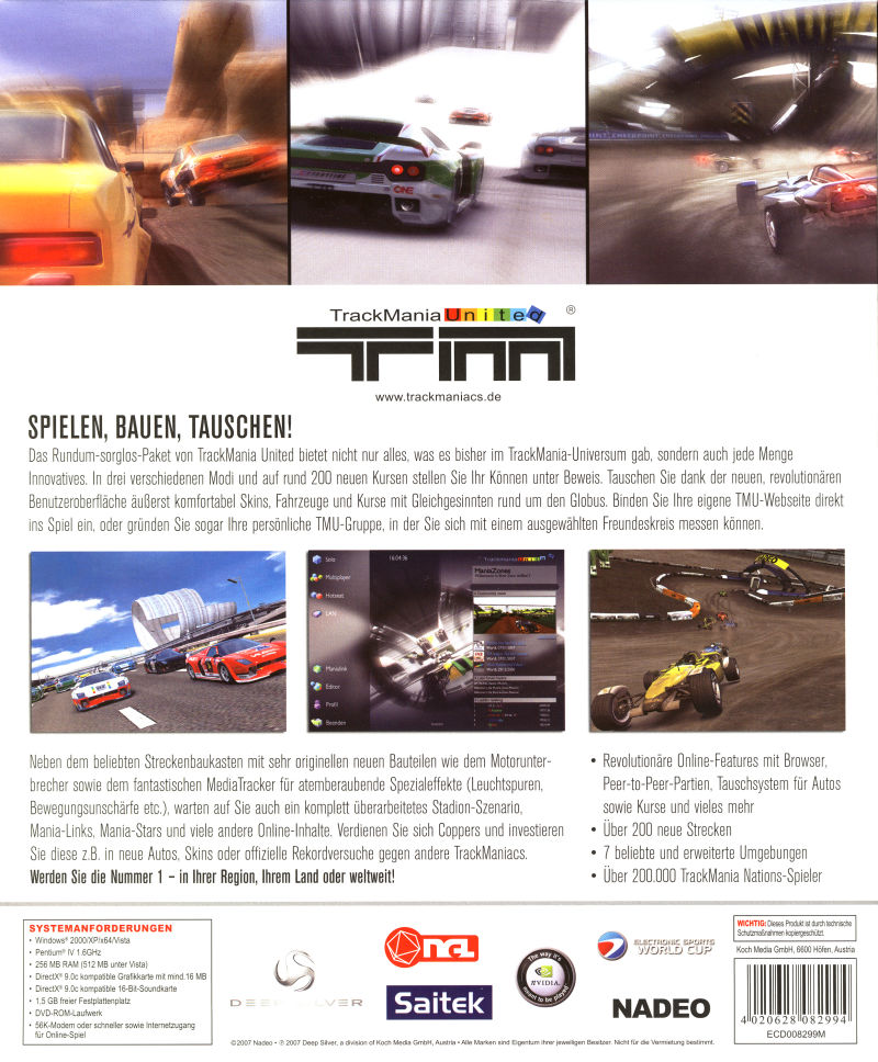 TrackMania United (Limited First Edition) Windows Back Cover