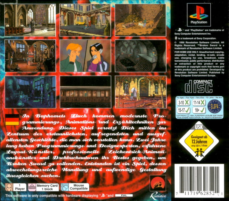 Circle of Blood PlayStation Back Cover