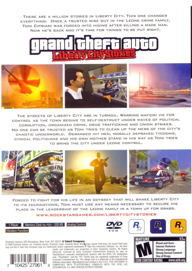 Grand Theft Auto: Liberty City Stories PlayStation 2 Back Cover
