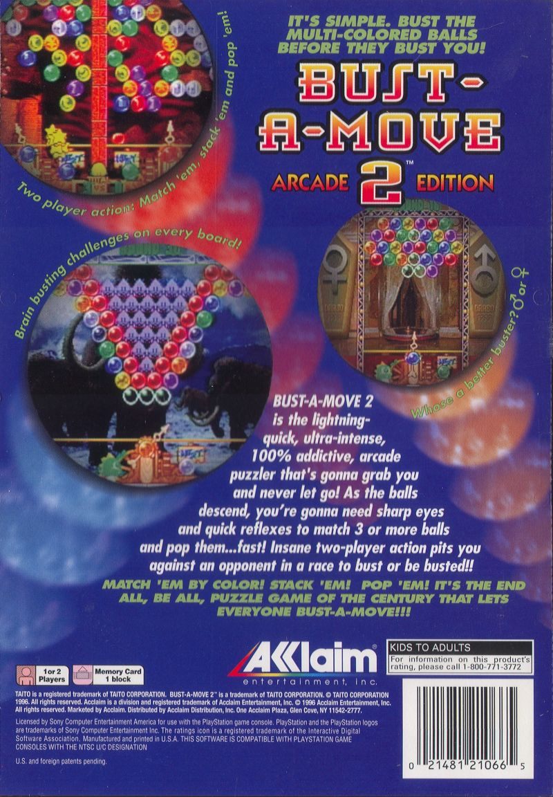 Bust-A-Move 2: Arcade Edition PlayStation Back Cover