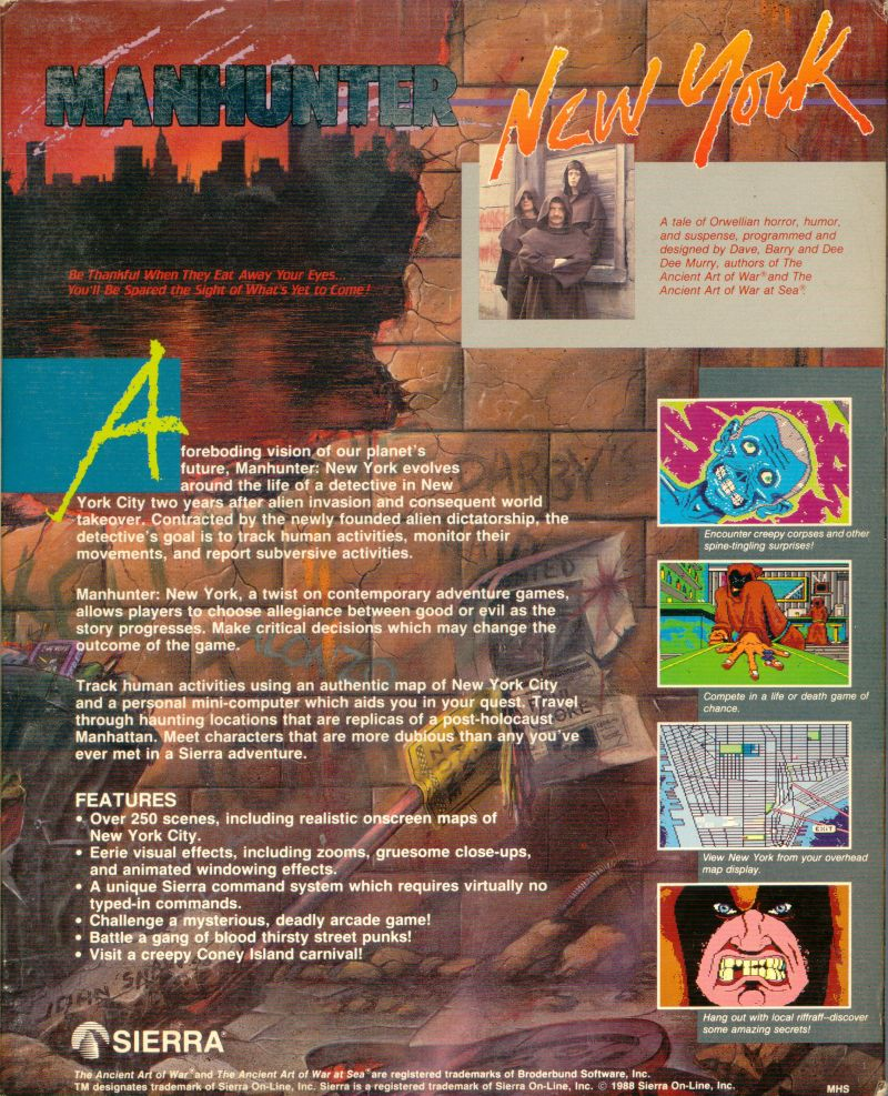 Manhunter: New York DOS Back Cover