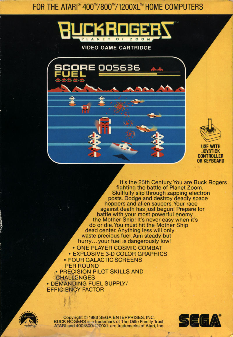 Buck Rogers: Planet of Zoom Atari 8-bit Back Cover