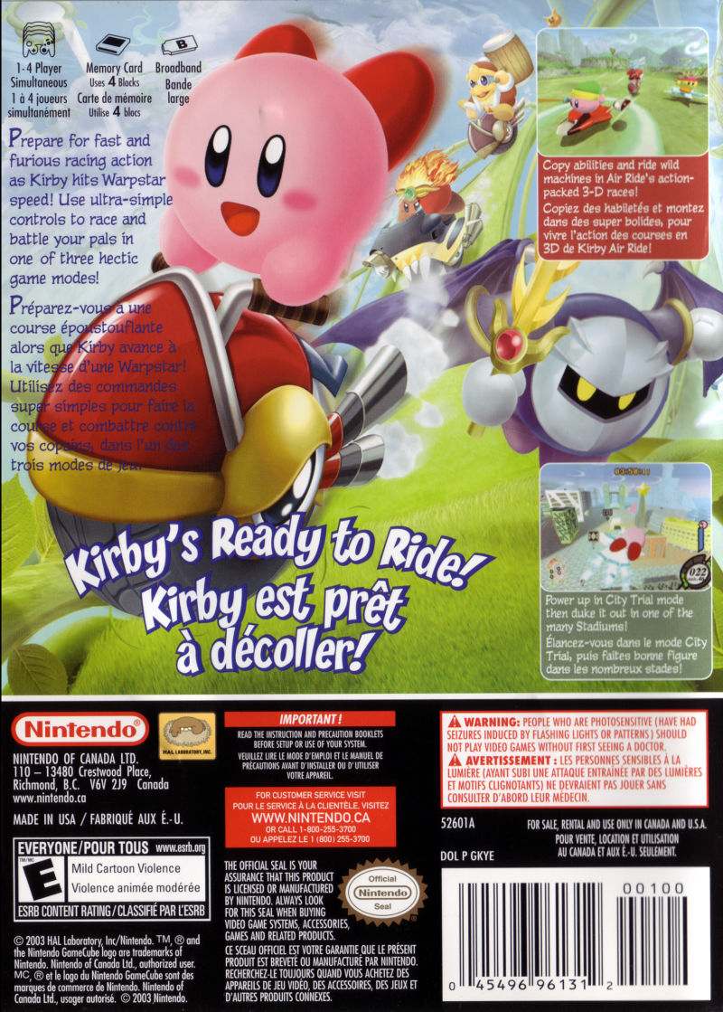 Kirby Air Ride GameCube Back Cover
