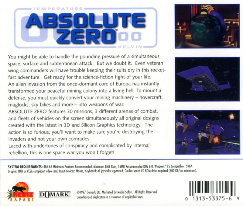 Absolute Zero DOS Other Jewel Case - Back