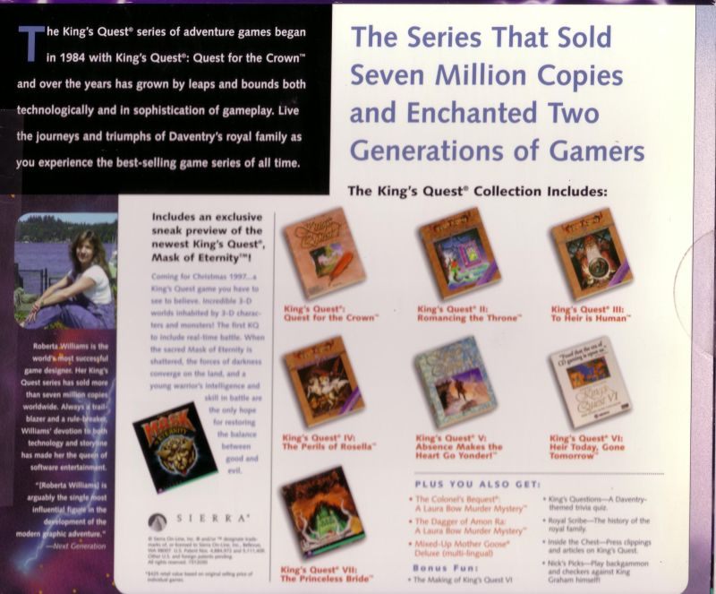 King's Quest: Collection Series DOS Back Cover