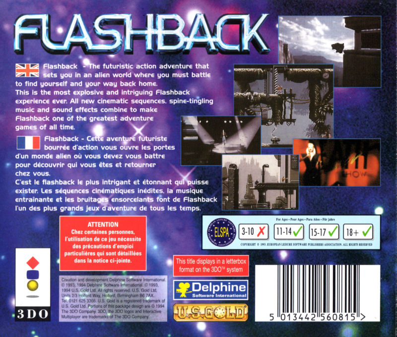 Flashback: The Quest for Identity 3DO Back Cover