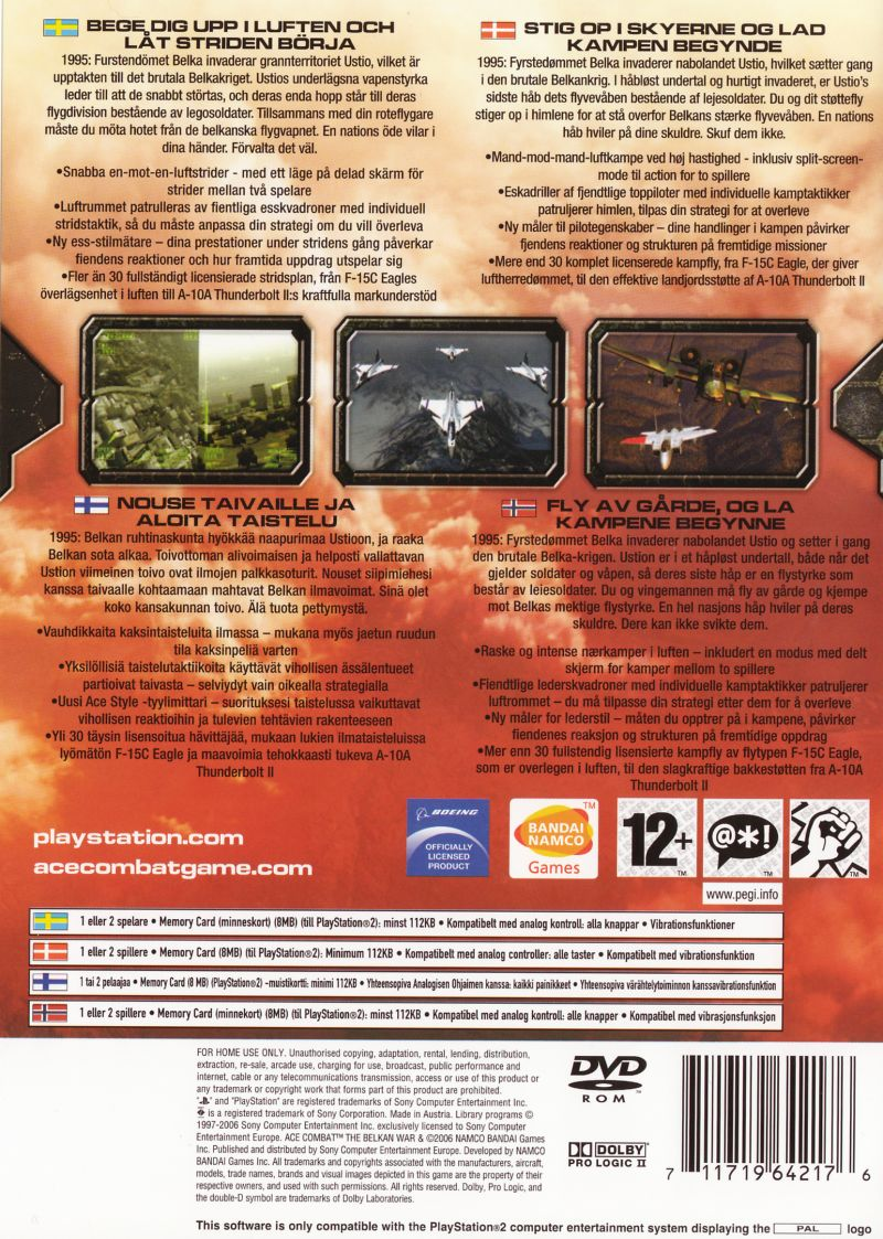 Ace Combat Zero: The Belkan War PlayStation 2 Back Cover