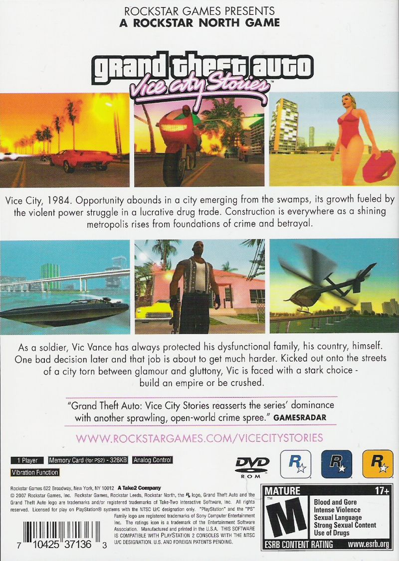 Grand Theft Auto: Vice City Stories PlayStation 2 Back Cover
