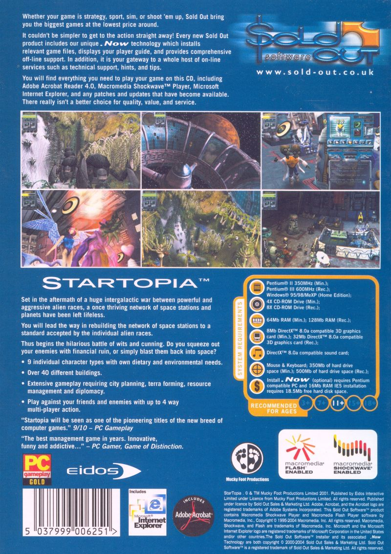 Startopia Windows Back Cover