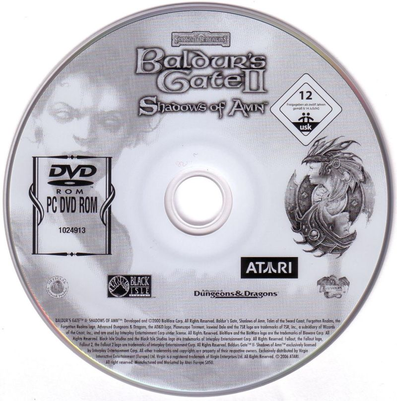 Baldur's Gate: 4 in 1 Boxset Windows Media Baldur's Gate II Shadows of Amn Disc