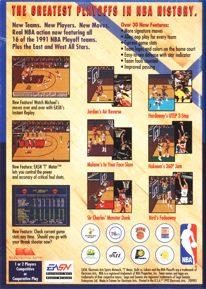 Bulls vs. Lakers and the NBA Playoffs Genesis Back Cover