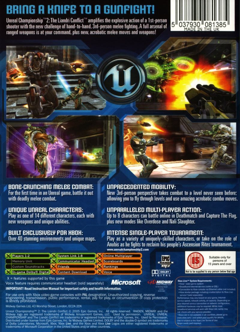 Unreal Championship 2: The Liandri Conflict Xbox Back Cover