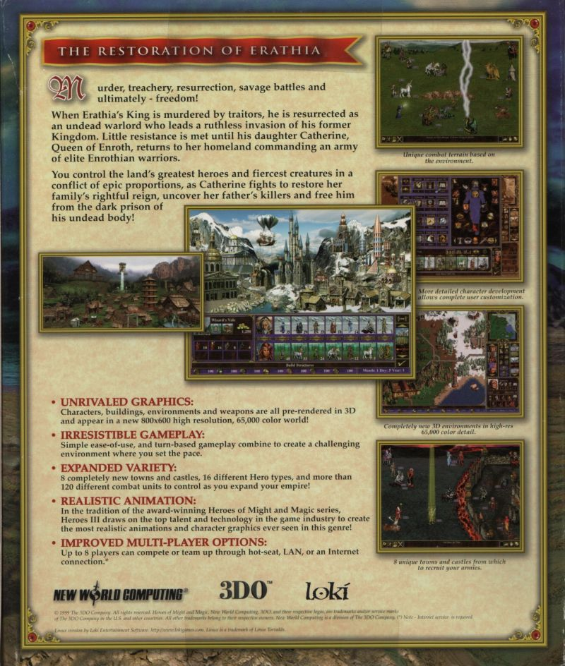 Heroes of Might and Magic III: The Restoration of Erathia Linux Back Cover