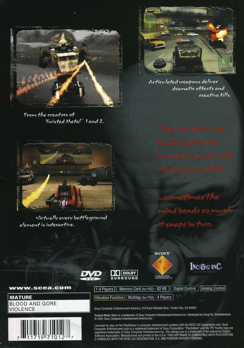 Twisted Metal: Black PlayStation 2 Back Cover