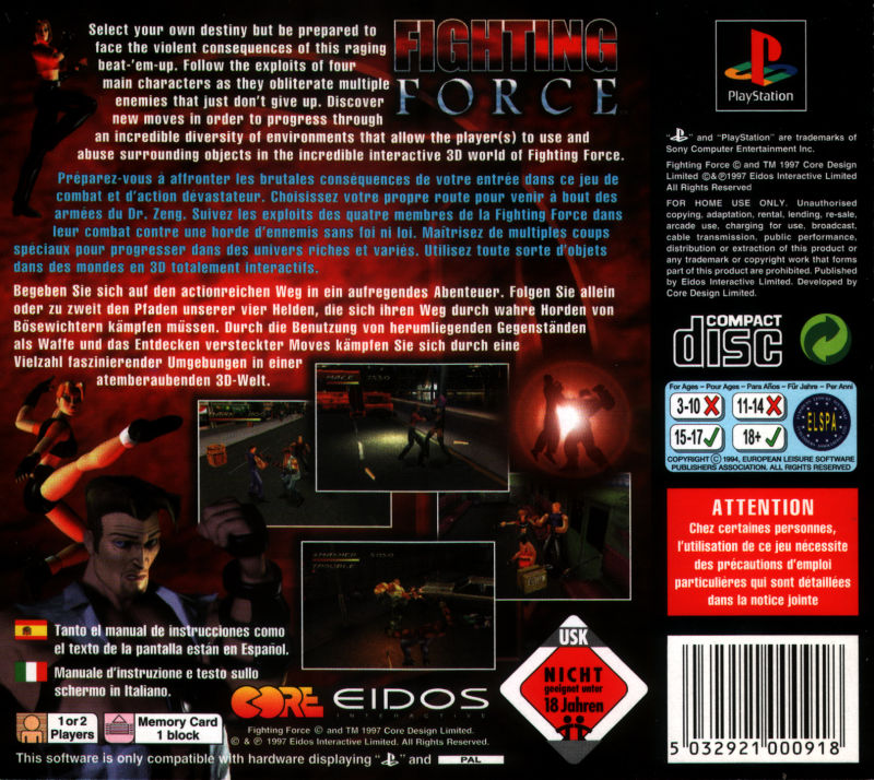Fighting Force PlayStation Back Cover