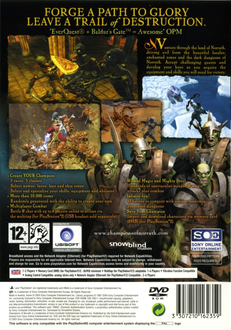 Champions of Norrath PlayStation 2 Back Cover